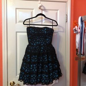 Blue and black Betsy Johnson party dress